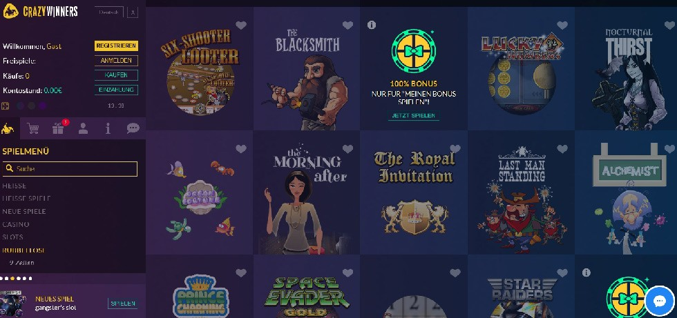 Crazy Winners Casino promo codes, free spins and no deposit bonuses